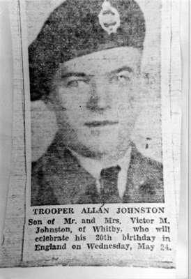 Photo of Newspaper Clipping about TROOPER ALLAN JOHNSTON