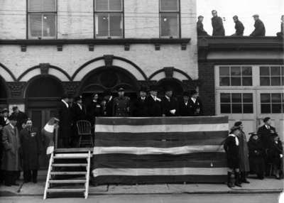 Reviewing Stand at Legion Drumhead Service, 1937