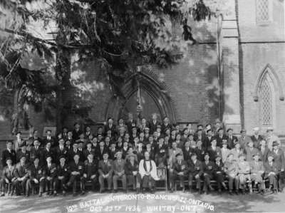 Group Portrait of 19th Battalion Toronto Branch No. 122, Ontario at All Saints' Church, Whitby, October 1936