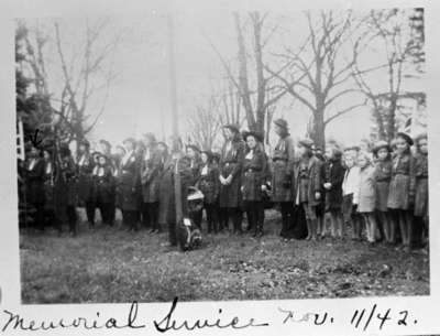 Girl Scouts (Girl Guides) at Remembrance Day Service, November 1942