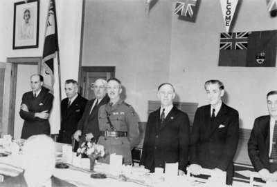 Remembrance Day banquet in Legion Hall, 1945