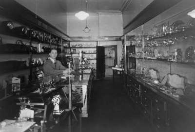 Interior of Bassett's Jewellery Store, 1938.
