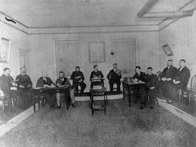 Unidentified lodge meeting, c.1885