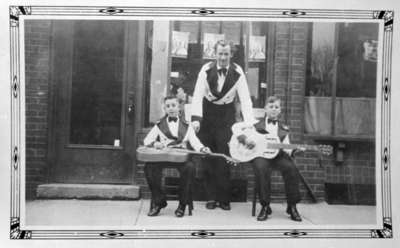 Ragnar Steen and two members of his boys' guitar band, 1935