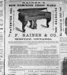 Advertisement from J. F. Rainer Piano Factory, 1868.