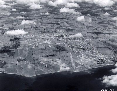 Lake Ontario - Ajax Community Centre, c. 1970 - Ajax - Aerial Photo