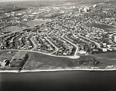 Lake Ontario - Oxford Towers, c. 1984 - Ajax - Aerial Photo