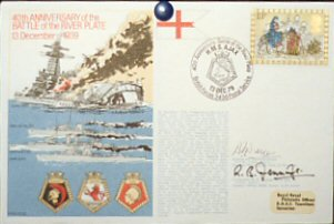 Postcard - 40th Anniversary of the Battle of the River Plate - HMS Ajax - HMS Achilles