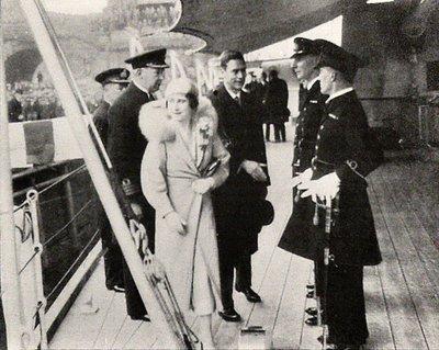 HMS Ajax - Royal Visit - Queen Mother & King George IV