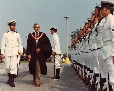 HMS Ajax, 1963 - Inspection of Guard by Mayor Mason