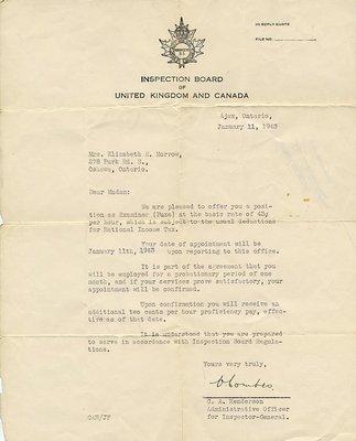 Inspection Board of United Kingdom and Canada - Memo