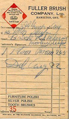 Fuller Brush Company delivery slip