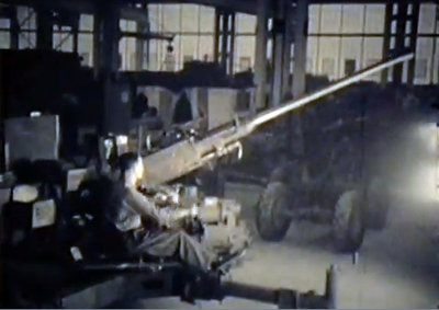 Bofors anti-aircraft gun at Defence Industries Limited. (no audio)