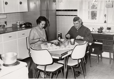 "Lucien ""Frenchie"" Gagnon at home with his wife Cecile."
