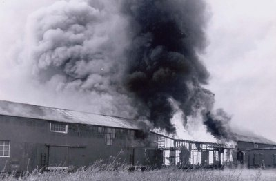 The Visco Petroleum Warehouse engulfed in flames