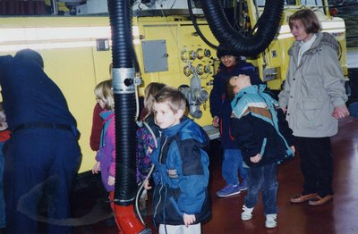 Students from Lord Durham Public School touring the fire station.