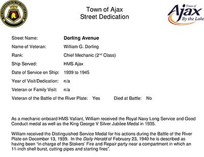 Ajax Veterans Street Dedication: Dorling Avenue
