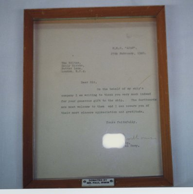 A Letter from an H.M.S. Ajax Officer