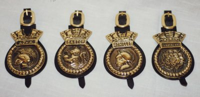 H.M.S. Ajax, Exeter, Achilles, and Cumberland Badges