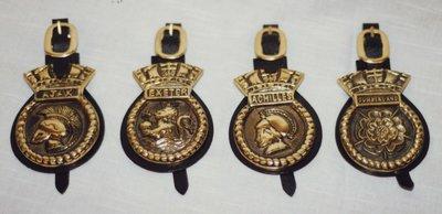 H.M.S. Ajax, Exeter, Achilles, and Cumberland Badges