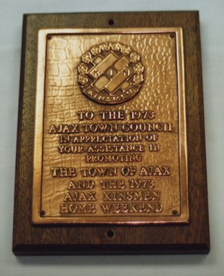 Kinsmen Club Plaque