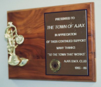 Ajax BMX Club Plaque