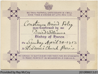 Constance Baird Foley confirmation certificate