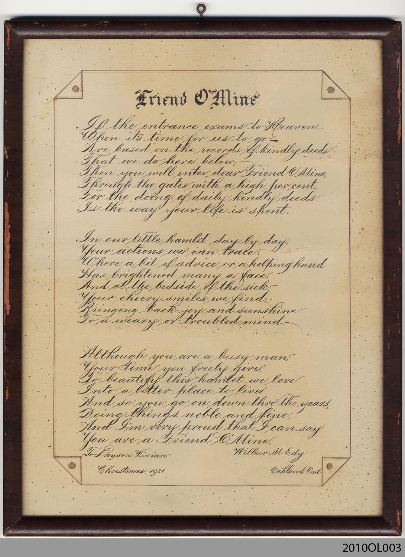 Friend O' Mine, presented to Payson Vivian from Wilbur M. Edy
