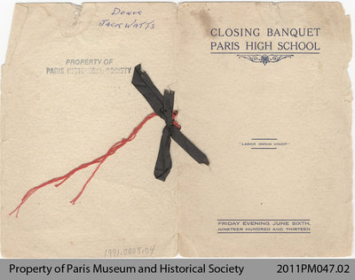 Invitation to the Closing Banquet at the Paris High School