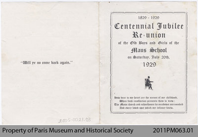 Invitation to the Centennial Reunion of the Maus School.