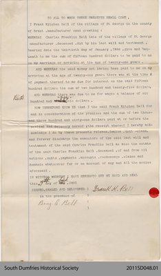 Papers Releasing Charles Franklin Bell as Executor