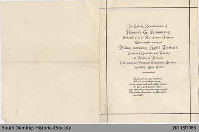 Funeral Card of Hannah G. Armstrong