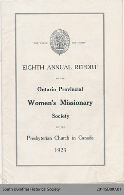 Annual Report of the Women's Missionary Society