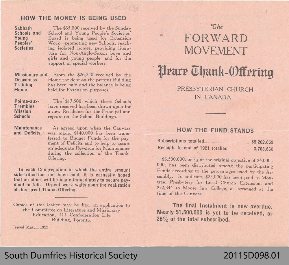 Leaflet of the Presbyterian Church in Canada