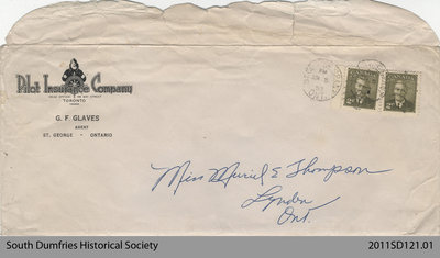 Envelope from a Letter Addressed to Miss Muriel E. Thompson