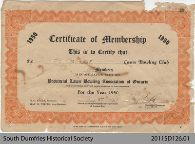 Lawn Bowling Club, Certificate of Membership