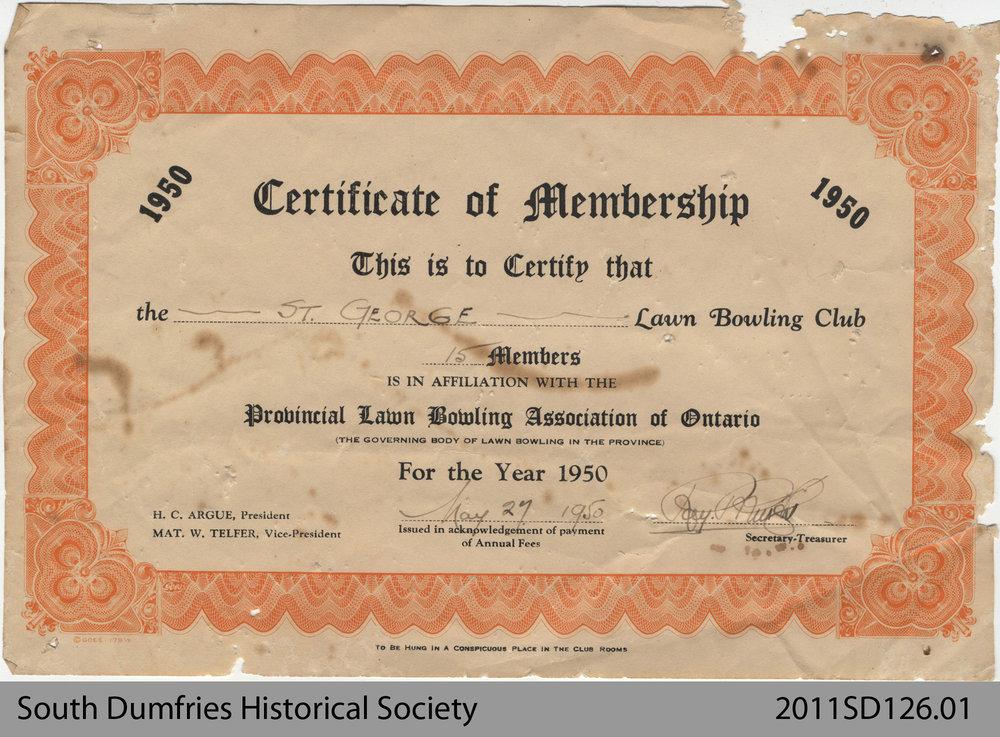 Lawn Bowling Club, Certificate of Membership