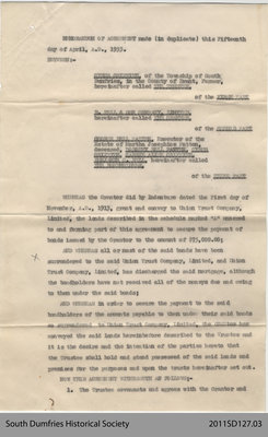 Memorandum of Agreement Between Cyrus Griffith and Bell & Son Company