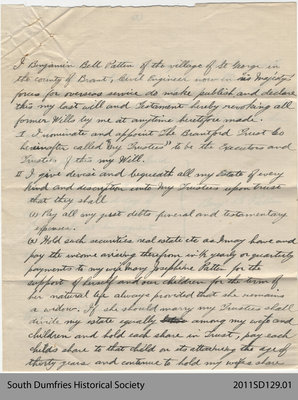 Last Will and Testament of Benjamin Bell Patten
