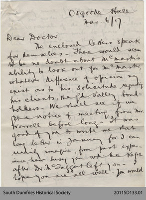 Letter from Geo H. Muirhead to Doctor [Addison]