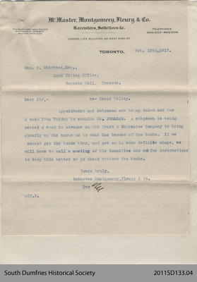 Letter from McMaster Montgomery Fleury & Co. to George Muirhead
