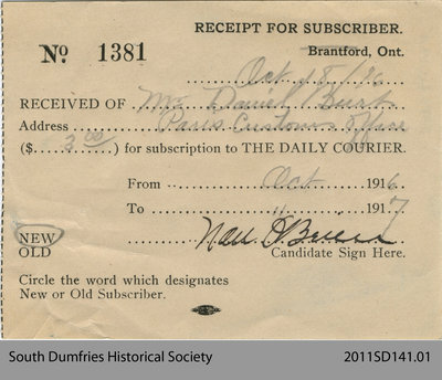 Receipt for Subscriber Mr. Daniel Burt