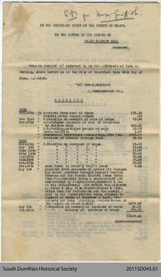 Document Relating to the Estate of Frank Kitchen Bell