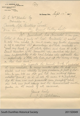 Letter of Dr. Addison Relating to the Grand Valley Railway