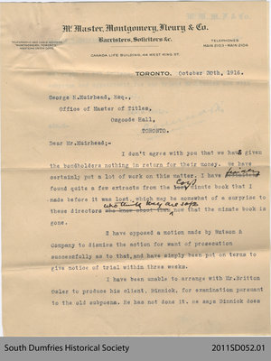 Letter from McMaster, Montgomery, Fleury and Co. to George H. Muirhead