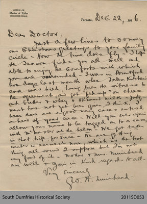 Letter from George Muirhead at Osgoode Hall to Dr. [Addison]