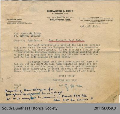 Letter Regarding Frank K. Bell Estate