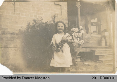 Muriel Martin with Flowers for Lord Byng