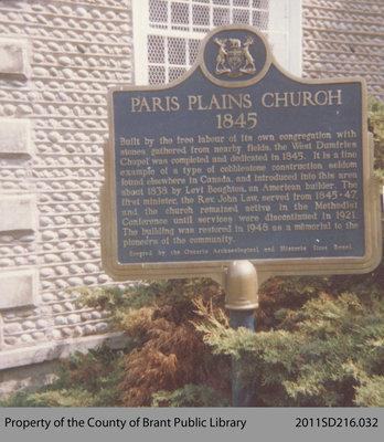 Dedication Plaque of the Paris Plains Church