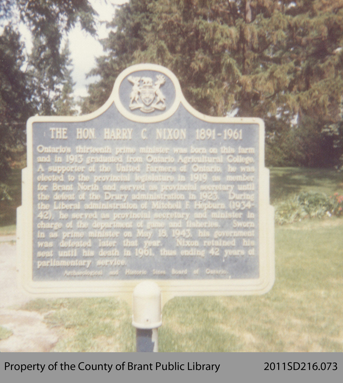 Plaque Commemorating H. C. Nixon